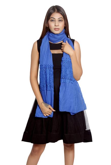 Grishti Blue Lace Polyester Stole