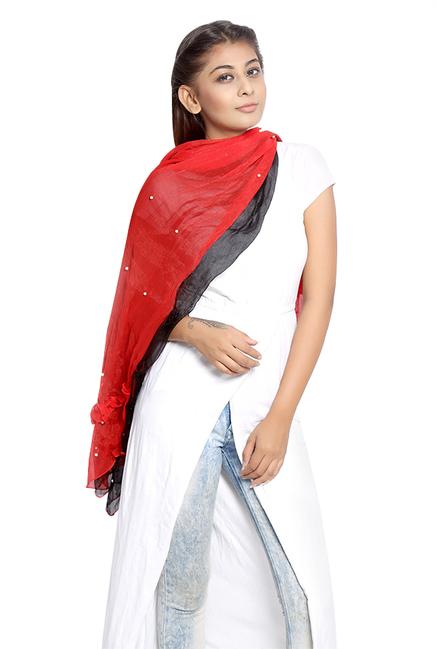 Grishti Red & Black Embellished Synthetic Stole