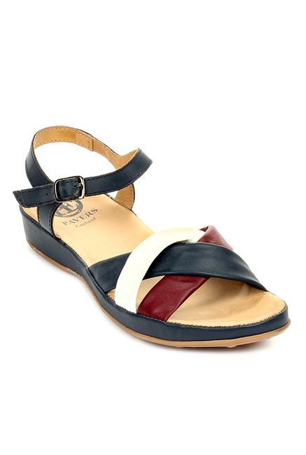 9a87e8deece Buy Pavers England Navy   White Ankle Strap Wedges for Women at Best Price    Tata CLiQ