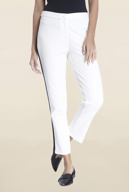 Vero Moda White Regular Fit Solid Trousers