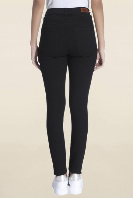 Vero Moda Black Raw Denim High Rise Slim Fit Jeans