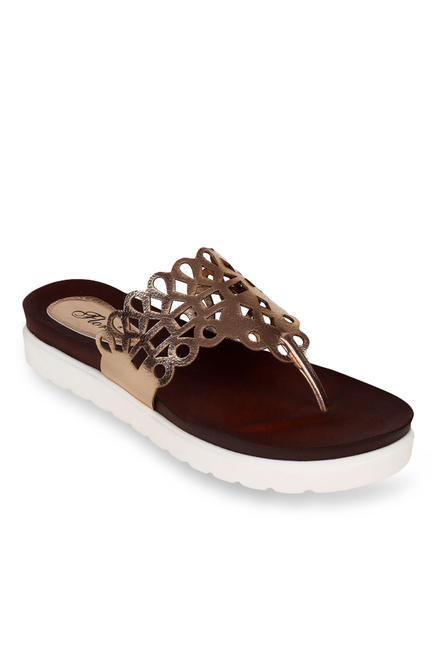 fce8b3121133 Buy Flora Rose Gold Thong Sandals for Women at Best Price   Tata ...