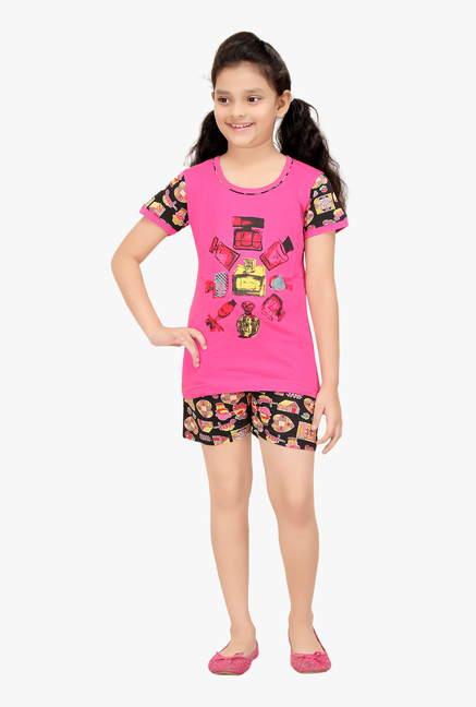 Buy Red Ring Pink   Black Printed Night Suit for Girls Clothing Online ... 75547f4d7