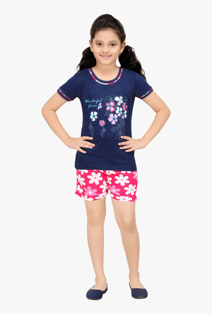 c73dbc8a1e7 Buy Red Ring Navy   Pink Printed Night Suit for Girls Clothing Online ...