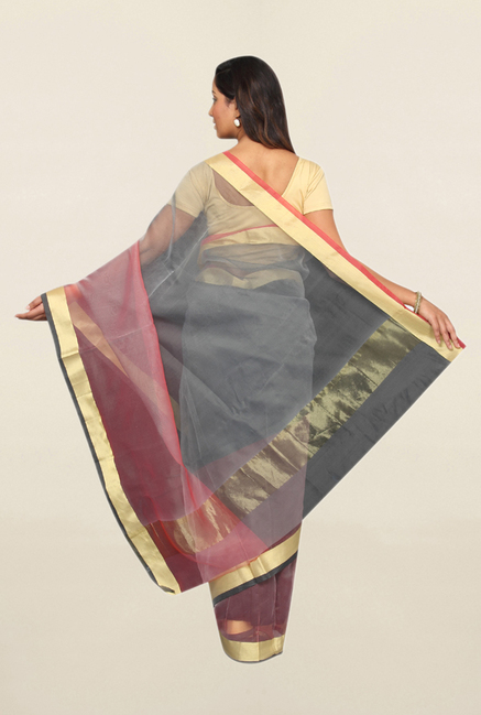 Pavecha's Grey & Coral Cotton Polyblend Saree With Blouse