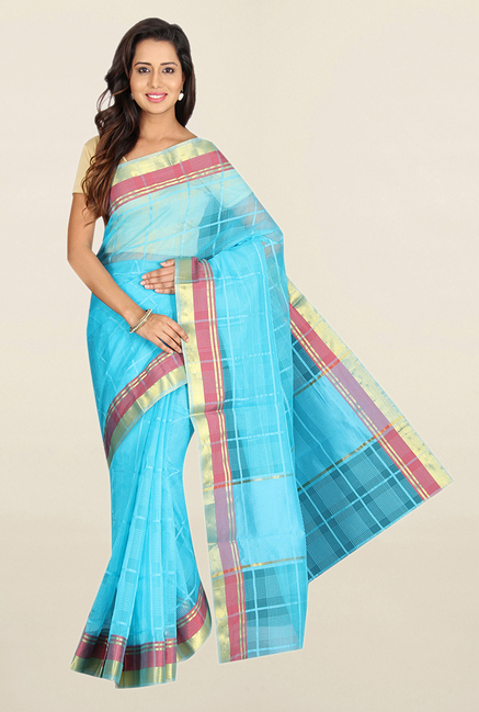 Pavecha's Blue Checks Polyester Saree With Blouse