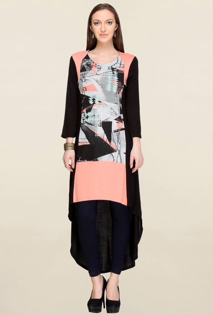 W Peach & Black Printed Kurta