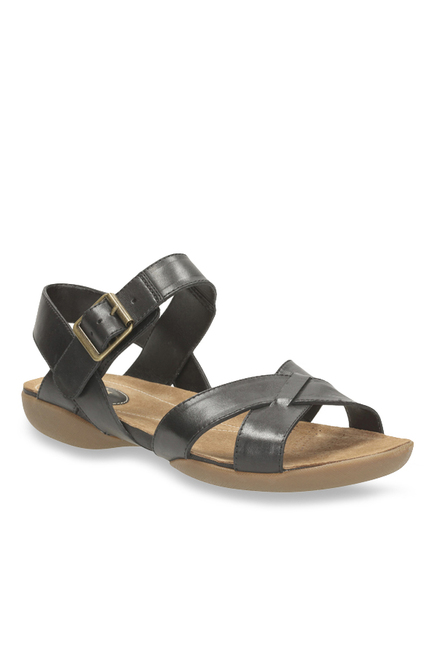 25a0e1a6a17 Buy Clarks Raffi Flower Black Ankle Strap Sandals for Women at Best ...