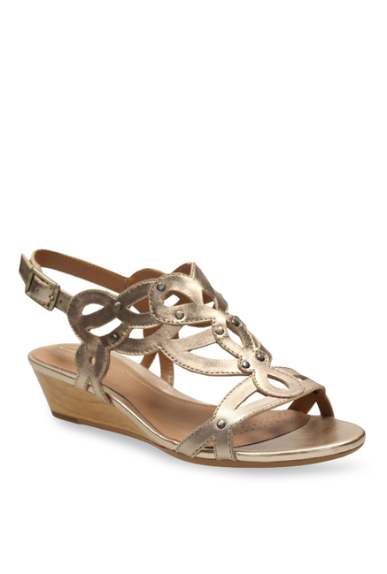 8dddc7fbc8e Buy Clarks Playful Tunes Golden Back Strap Wedges for Women at Best Price    Tata CLiQ