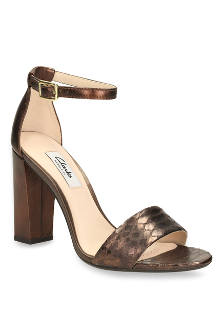 ba5cb449d82143 Buy Clarks Curtain Secret Bronze Ankle Strap Sandals for Women at Best  Price   Tata CLiQ