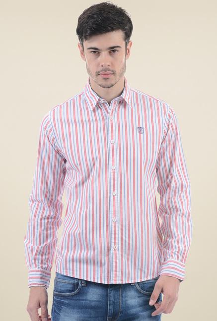 cce2dbb7c9 Buy Pepe Jeans Red   Blue Regular Fit Striped Shirt for Men Online ...