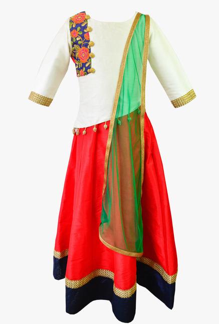 002535e186 Buy K&U Off White & Red Embroidered Lehenga Choli for Girls Clothing Online  @ Tata CLiQ
