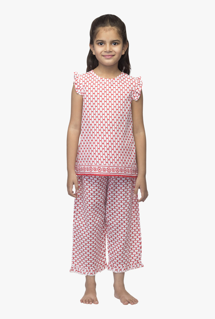 Buy Oxolloxo Red Printed Night Suit for Girls Clothing Online   Tata ... 06a22edcf