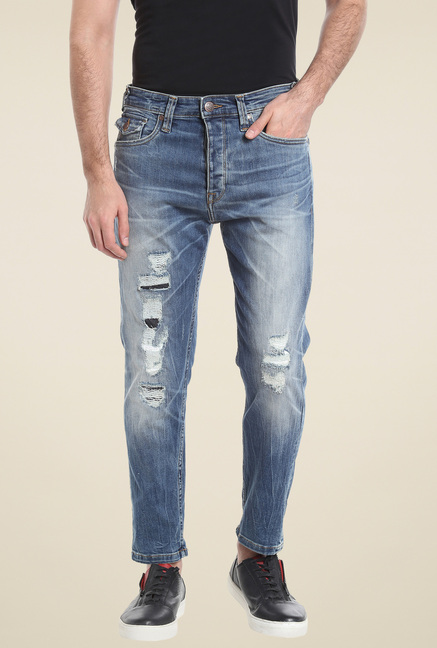 Jack & Jones Blue Comfort Fit Cotton Jeans