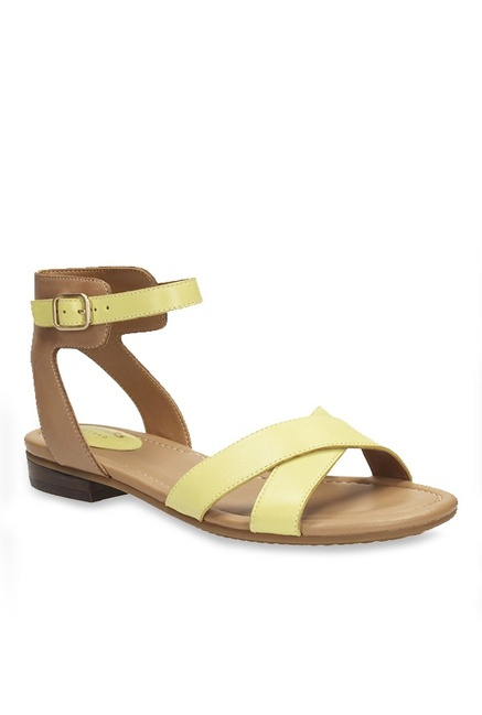 1b549fa7b Buy Clarks Viveca Zeal Yellow   Brown Ankle Strap Sandals for Women at Best  Price   Tata CLiQ
