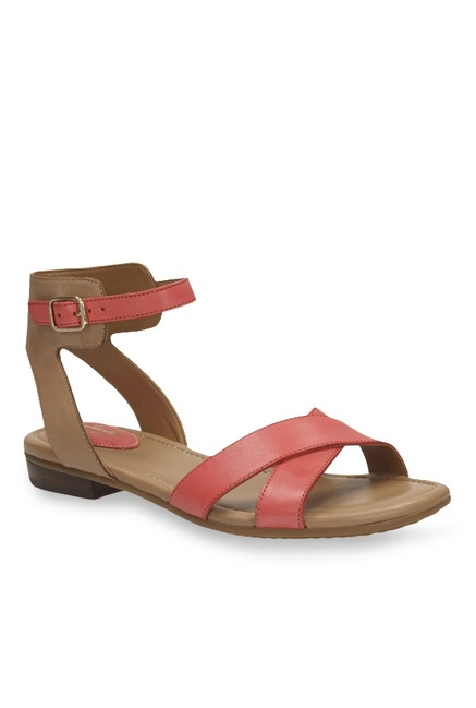 9b765480a Buy Clarks Viveca Zeal Coral   Brown Ankle Strap Sandals for Women at Best  Price   Tata CLiQ