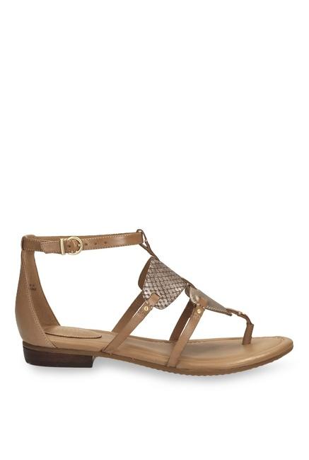 b5b06d8fc Buy Clarks Viveca Athen Brown   Golden T-Strap Sandals for Women at ...