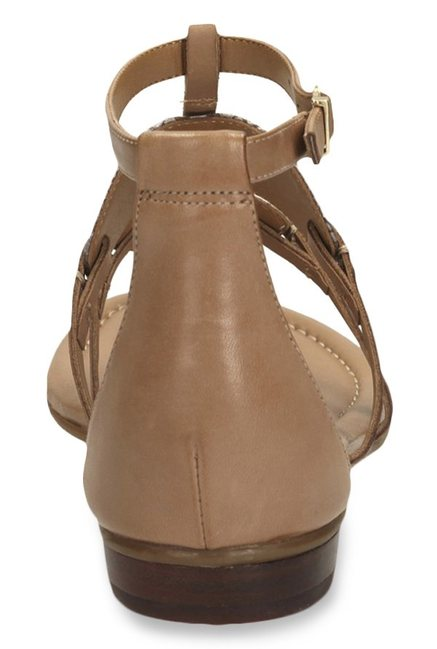 56c09a002 Buy Clarks Viveca Athen Brown   Golden T-Strap Sandals for Women at ...