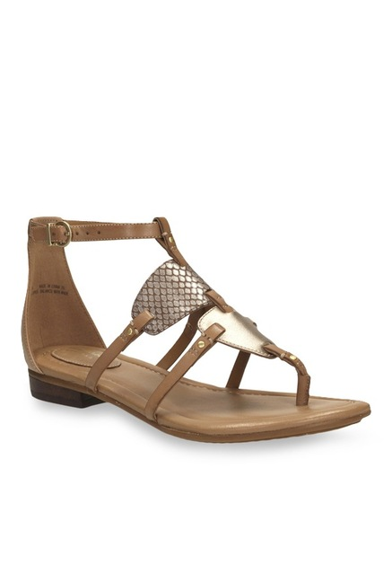 216050318 Buy Clarks Viveca Athen Brown   Golden T-Strap Sandals for Women at Best  Price   Tata CLiQ