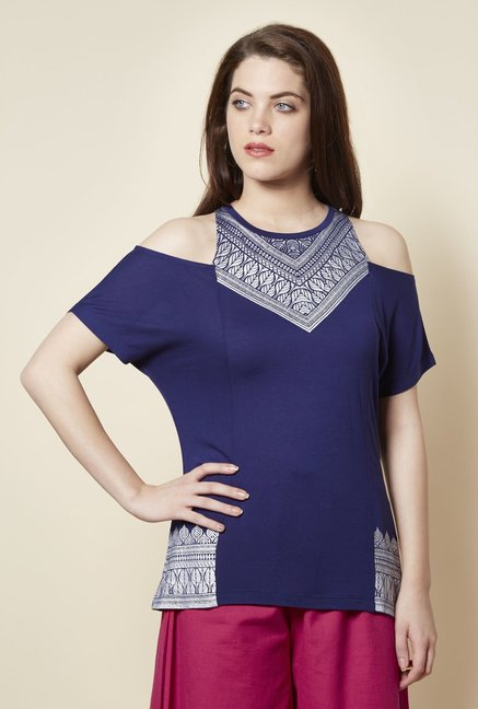 1b47b996b999c7 Buy Zudio Blue Cold Shoulder T Shirt for Women Online   Tata CLiQ