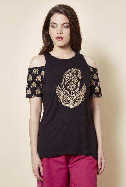 4dea9c03958f12 Buy Zudio Black Cold Shoulder T Shirt for Women Online   Tata CLiQ