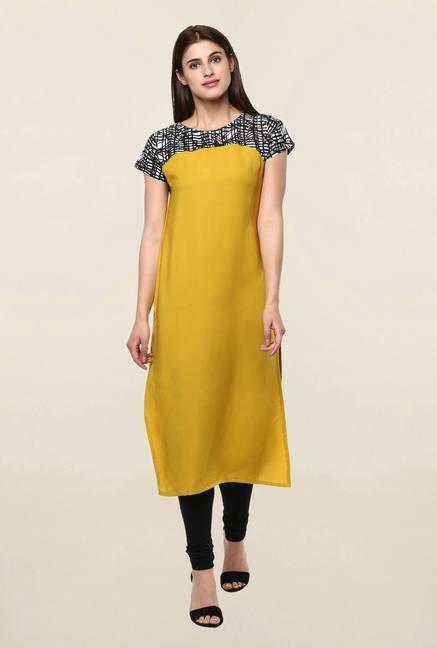 80b31cb68b0 Buy Janasya Mustard Solid Kurta for Women Online   Tata CLiQ