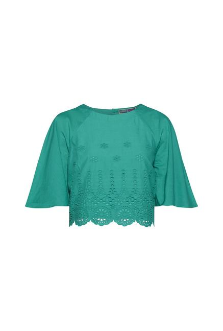 2c1f1c170cbe55 Buy Bombay Paisley by Westside Turquoise Crop Top for Women Online ...