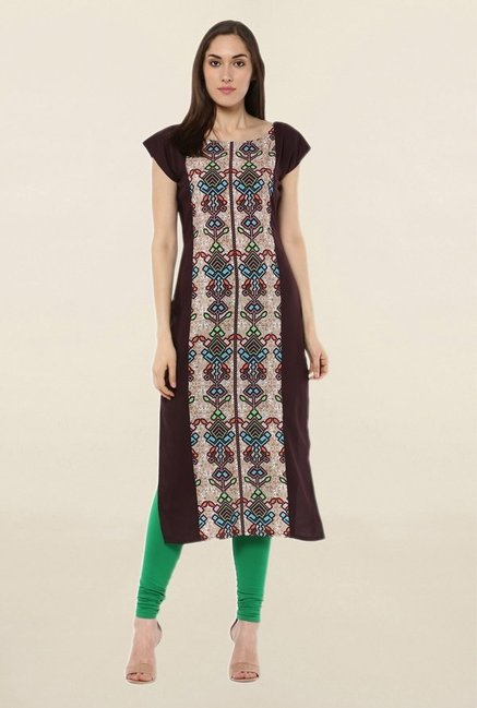 Ziyaa Brown Printed Crepe Kurta