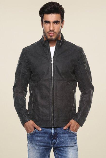 08b9de041df Buy Mufti Dark Grey Full Sleeves Slim Fit Jacket for Men Online ...
