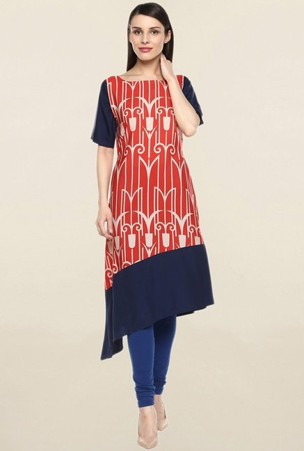 Ziyaa Orange & Navy Printed Crepe Kurta