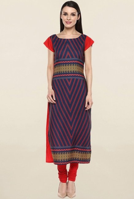 Ziyaa Navy & Red Printed Crepe Kurta