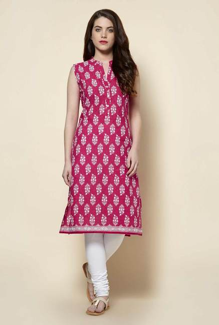 Zudio Fuchsia Pure Cotton Kurta