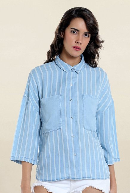 Vero Moda Light Blue Striped Shirt