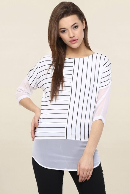Miss Chase White Striped Top