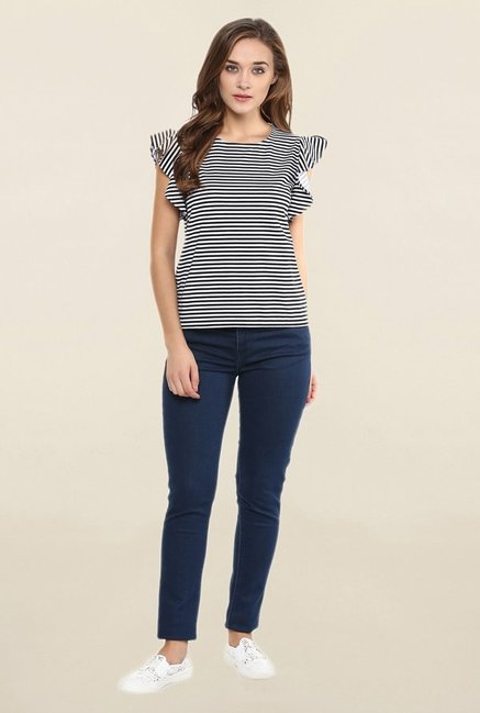 Miss Chase Black & White Striped Top