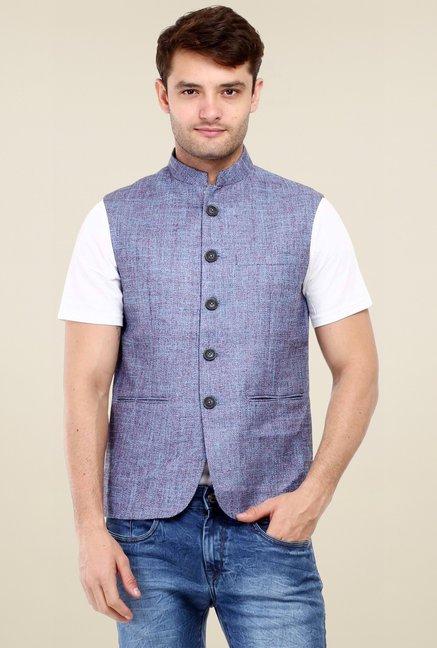 a686a7f2496eb Buy Red Tape Blue Sleeveless Nehru Jacket for Men Online   Tata CLiQ