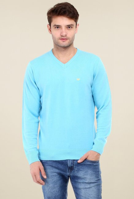 5914cbd79823 Buy Red Tape Turquoise V-Neck Full Sleeves Sweater for Men Online   Tata  CLiQ