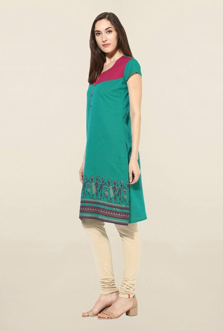 Mytri Green Printed South Cotton Kurta