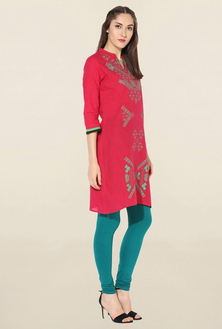 Mytri Pink Printed South Cotton Kurta