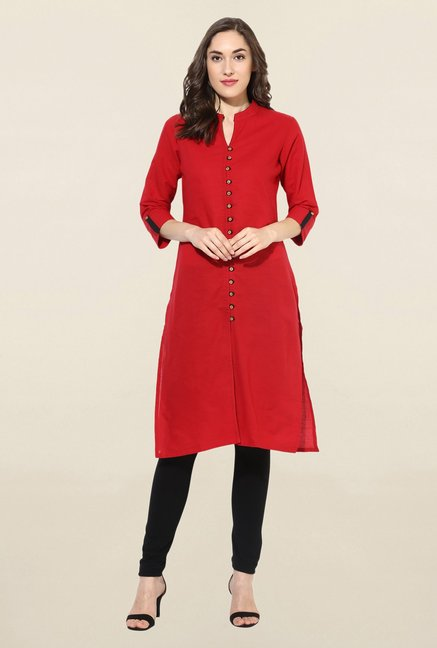 Mytri Red Solid South Cotton Kurta
