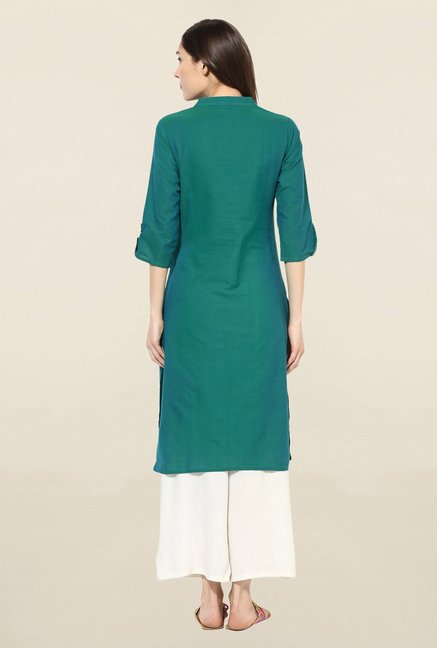 Mytri Green Solid South Cotton Kurta