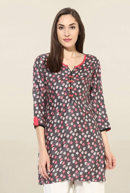Mytri Multicolor Floral Print Rayon Kurti