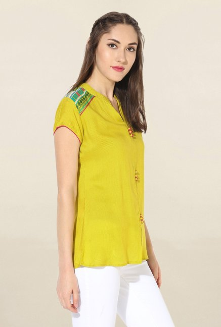 Mytri Yellow Striped Rayon Kurti