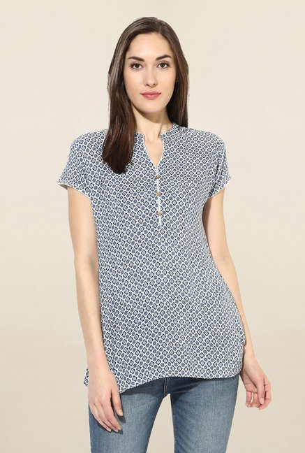 Mytri Off White & Blue Printed Rayon Kurti