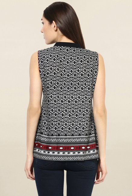 Mytri Black Printed Cotton Kurti