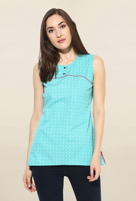 Mytri Turquoise Printed Cotton Kurti