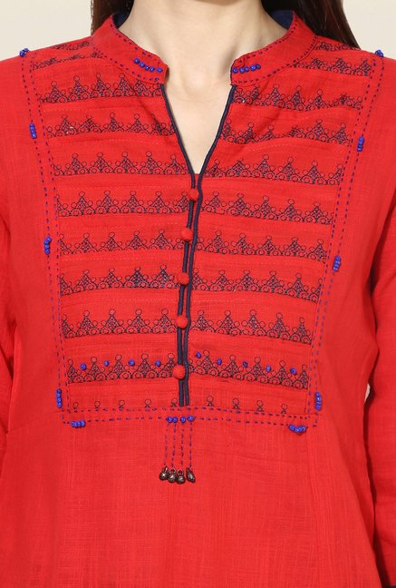Mytri Red Embroidered Cotton Kurta