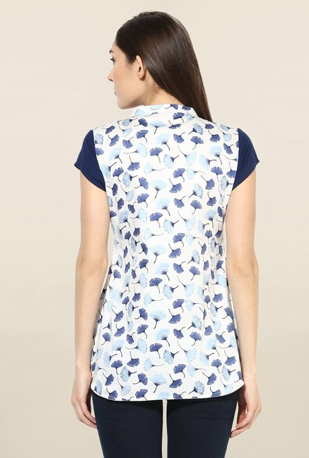 Mytri White & Blue Printed Cotton Kurti
