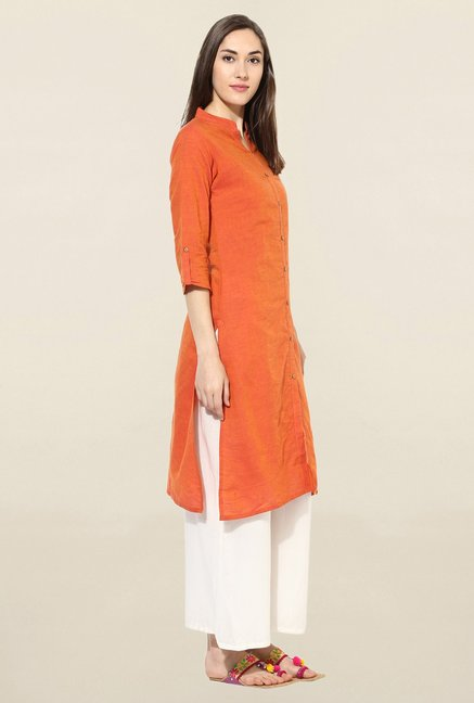 Mytri Orange Solid South Cotton Kurta