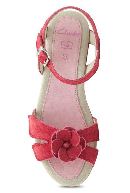 9e8a031c492 Buy Clarks Harpy Wings Pink Ankle Strap Wedges for Girls at Best ...